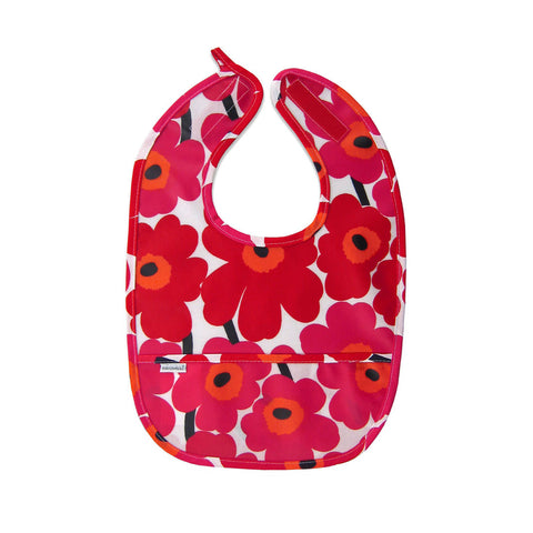 Marimekko Mini-Unikko Coated Cotton Bib Red