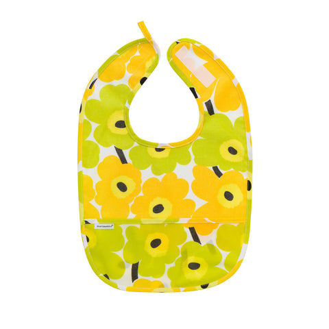 Marimekko Mini-Unikko Coated Cotton Bib Yellow/Green