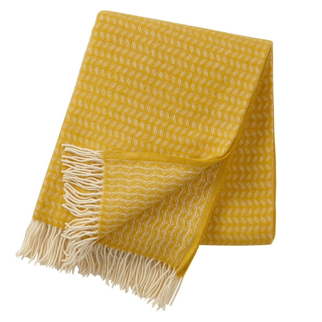 Klippan Leaf Wool Throw Yellow