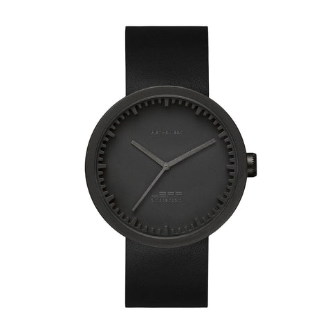 Leff Amsterdam LT72011 Tube Watch D42 Black Leather Strap, Black Case