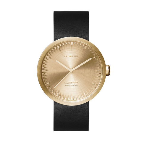 Leff Amsterdam LT72021 Tube Watch D42 Black Leather Strap, Brass Case