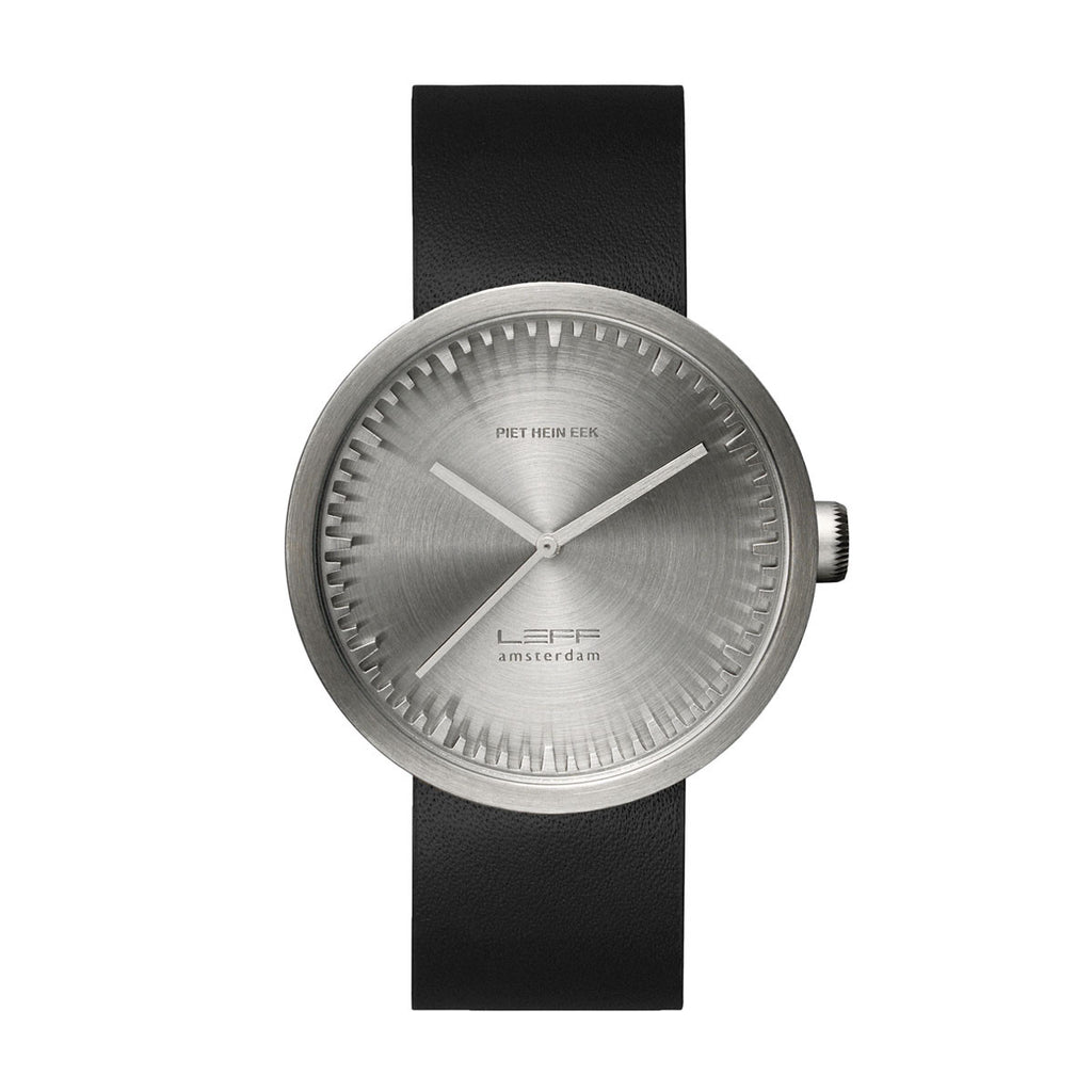 Leff Amsterdam LT72001 Tube Watch D42 Black Leather Strap, Steel Case