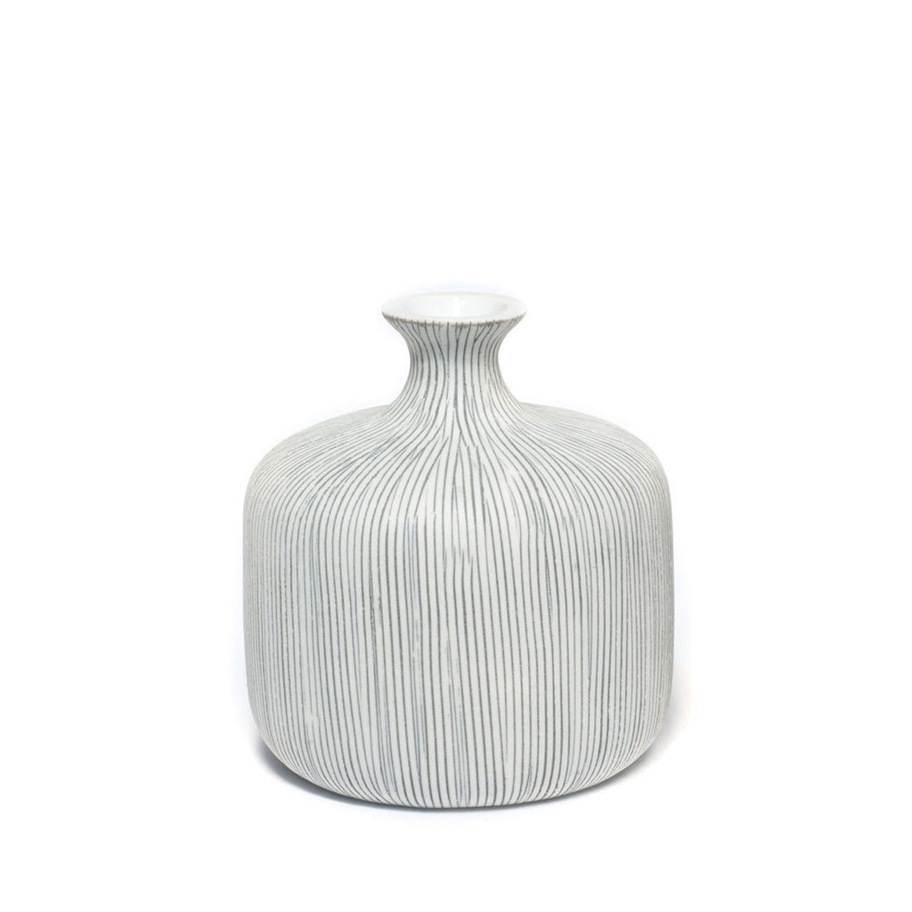 Lindform Vase Bottle Small Grey Stripes