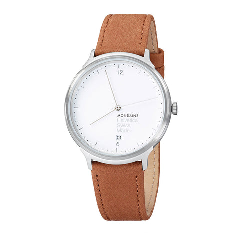 Mondaine MH1.L2210.LG Helvetica No1 Light White Face Brown Band