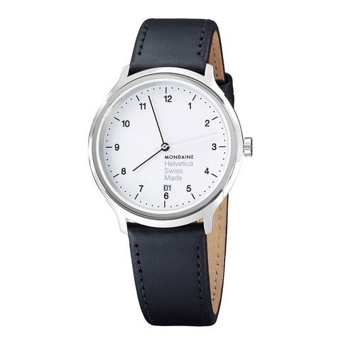 Mondaine MH1.R2210.LB Helvetica No1 Regular White Face Black Band