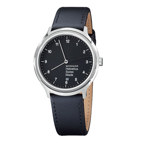 Mondaine MH1.R2220.LB Helvetica No1 Regular Black Face Black Band