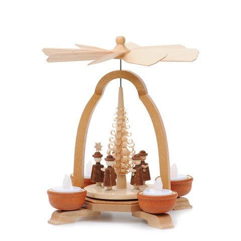 Pyramid with Carolers for Tea Light Candles