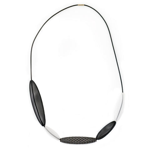 Sophia Emmett Entwined Reflective Mesh Necklace Loop Silver