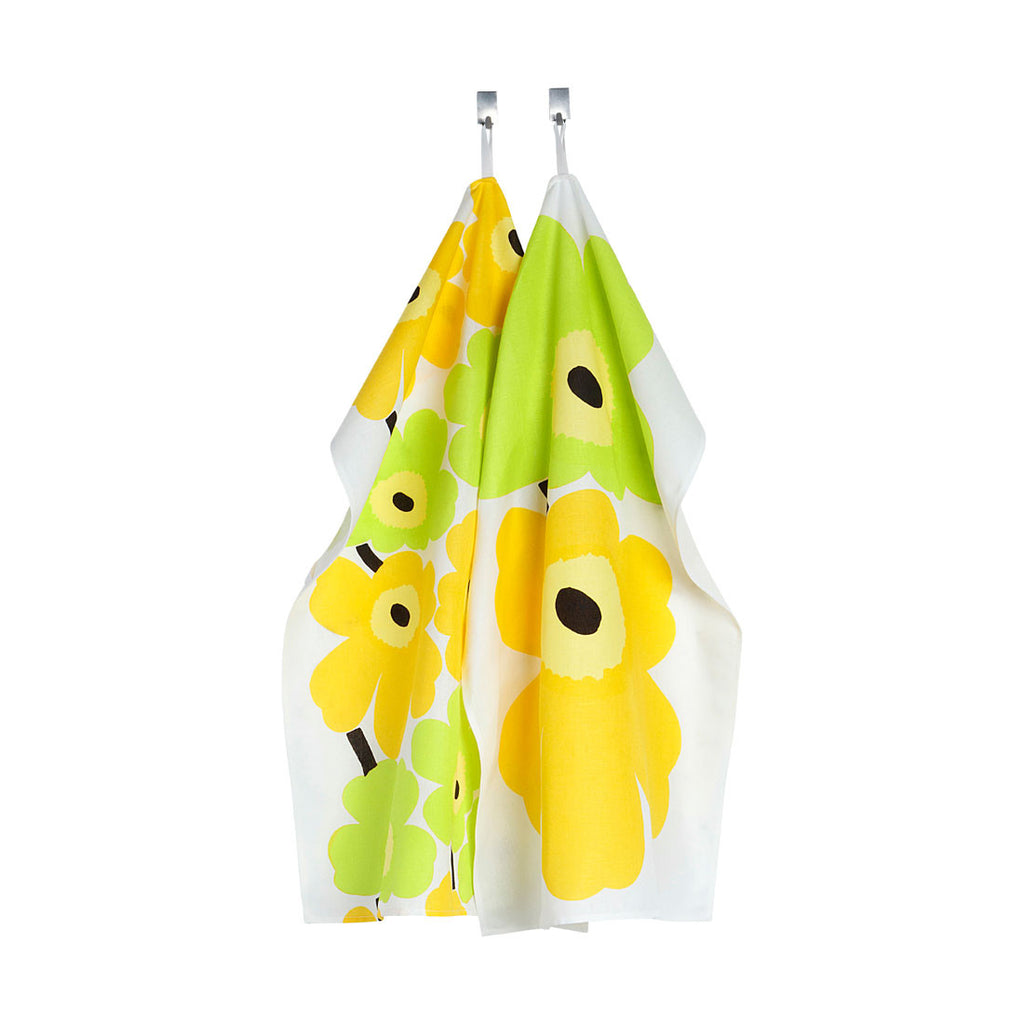 Marimekko Unikko Tea Towel Yellow 2pcs Set