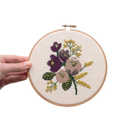 "Amethyst Floral 6"" Embroidery Kit Junebug and Darlin"