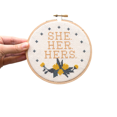 "She Her Hers 5"" Embroidery Kit Junebug and Darlin"