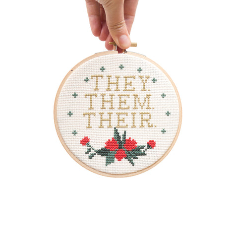 "They Them Theirs 5"" Embroidery Kit Junebug and Darlin"