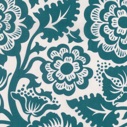 Modernist Blockprint Blossom Peacock Voile