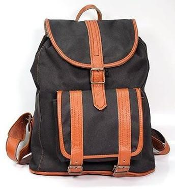 Backpack - Classic Campus Canvas And Leather Backpack