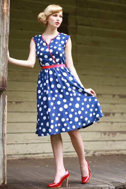Navy & White Polka Dot Keyhole Dress - Elise Design