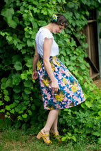 Load image into Gallery viewer, Ruby Mustard & Pink Linen Skirt - Elise Design