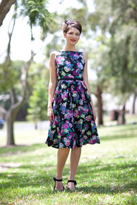 Jacki Floral Dress/ Black - Elise Design