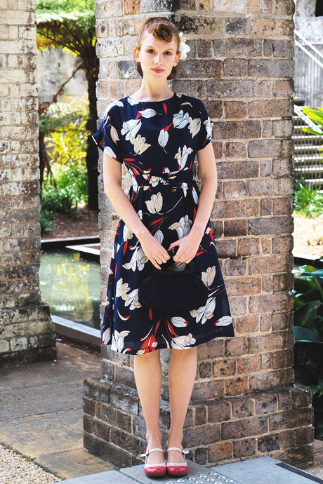 Anderson Navy & Red Floral Dress