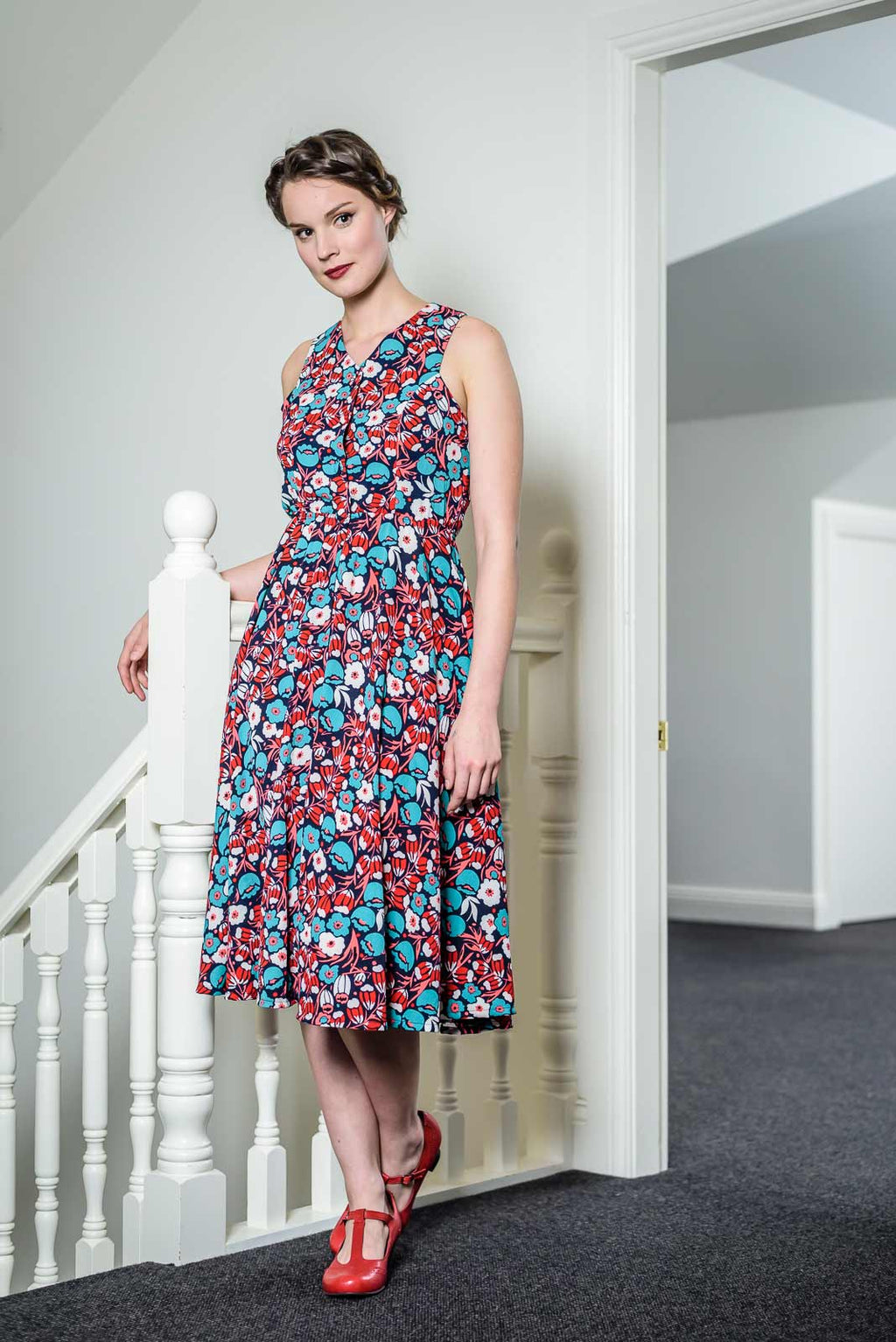 Isabella Red & Turquoise Dress Elise Design $179.00 Dresses