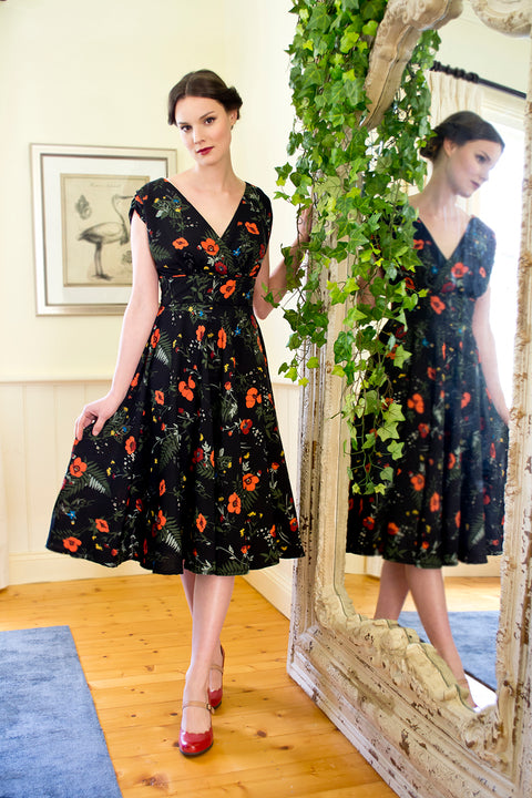 Viola Black Floral Dress Elise Design $175.00 Dresses