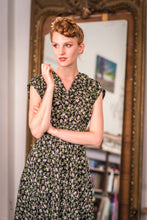Load image into Gallery viewer, Dakota Black & Green Floral Dress