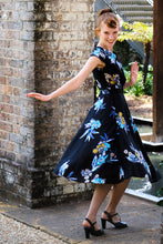 Load image into Gallery viewer, Doris Black & Blue Floral Dress