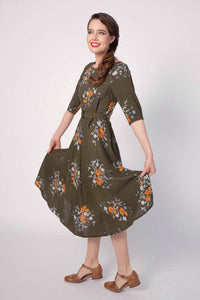 Doris Green & Orange Floral Dress