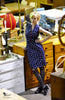Inline Dress Blue Blue Polka Dot - Elise Design