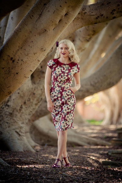 Alvilda Petite Burgundy Dress - Elise Design