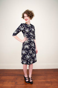 Cecile Black Floral Dress - Elise Design
