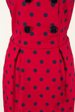 Load image into Gallery viewer, Tegan Red & Navy Polka Dress - Elise Design