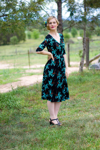 Evie Blue & Black Cherry Dress