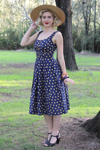 Nola Navy & Mustard Dress