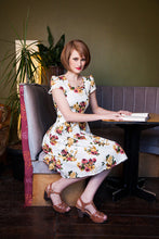 Load image into Gallery viewer, Scalloped Neckline Mustard/Pink Dress - Elise Design