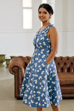 Load image into Gallery viewer, Evangeline Blue & Cream Floral Dress