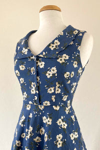 Evangeline Blue & Cream Floral Dress