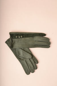 Stripe Button Gloves - Green