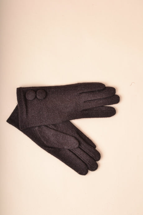 Covered Button Gloves - Brown