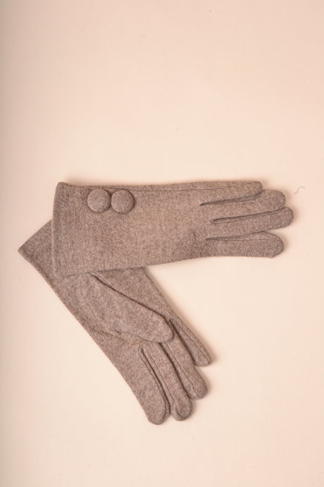 Covered Button Gloves - Coffee