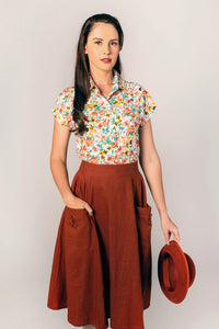 Gigi Rust Linen Skirt