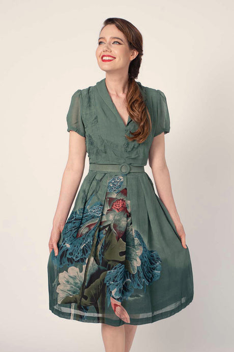 Grace Kelly Green Crane Dress