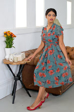 Load image into Gallery viewer, Grace Kelly Teal/Orange Floral Dress