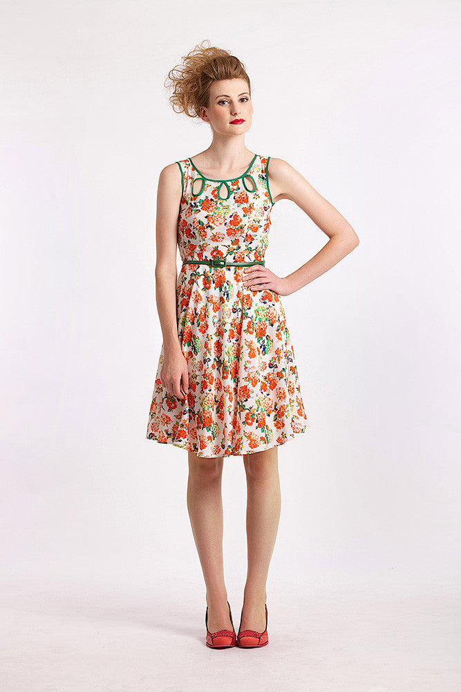 Orange Floral Teardrop Elise Design $80.00 Dresses