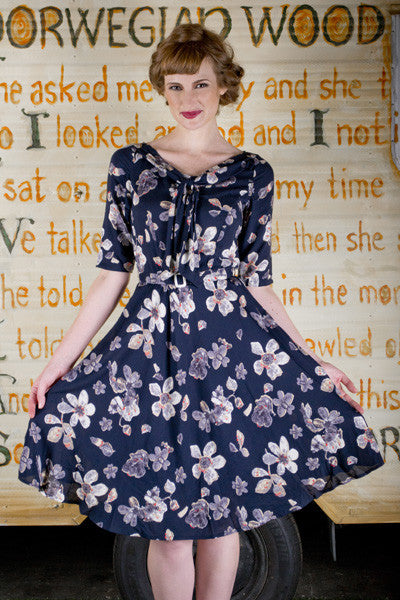 Louisa Navy Floral Dress - Elise Design