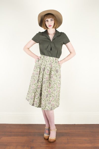 Tropical Green Linen Skirt Elise Design $105.00 Skirts