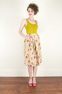 Tropical Mustard Linen Skirt - Elise Design