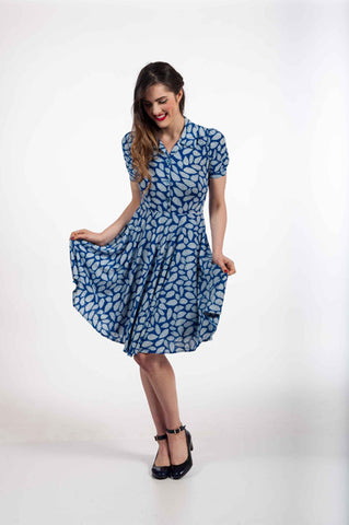 Blue Leaves Shirt Dress - Elise Design