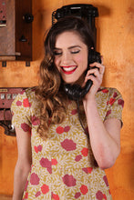 Load image into Gallery viewer, Cala Mustard & Red Floral Dress - Elise Design