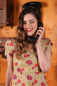 Cala Mustard & Red Floral Dress - Elise Design