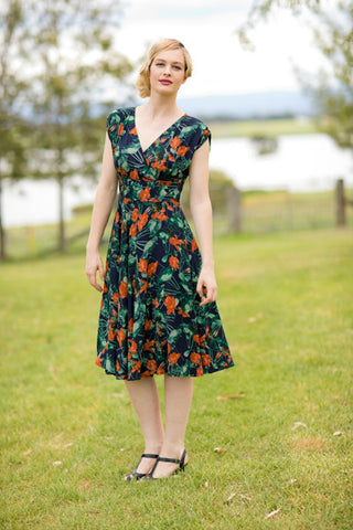 Viola Orange & Green Dress